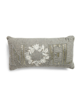 Made In India 12x20 Beaded Noel Wool Blend Pillow by Tj Maxx