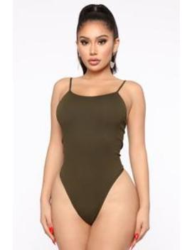 Simply The Best Seamless Tank Bodysuit   Olive by Fashion Nova