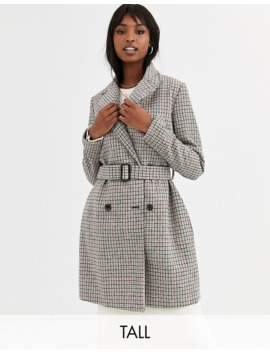 Missguided Tall Belted Trench Coat In Check Print by Missguided's