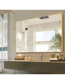 Porch & Den Lovegren Rectangular Glass Bathroom Mirror With Thin Aluminum Alloy Frame   Gold by Porch & Den