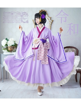 Dress Of The Dress Long Length * Favorite Original * Nostalgic Kimono Japanese Style Western Style Lavender X Purple In Japanese Dress In Japanese Dress♪ by Rakuten Global Market