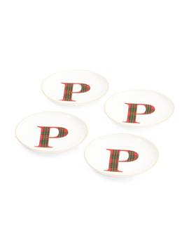 4pk Tartan Initial App Plates by Tj Maxx