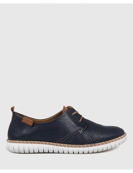 Bryleigh Navy Leather Lace Up Sneaker by Wittner