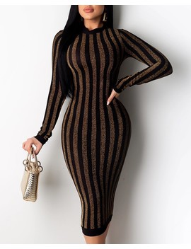 Glitter Striped Long Sleeve Midi Dress by Chic Me