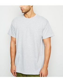 Grey Marl Oversized Plain T Shirt by New Look