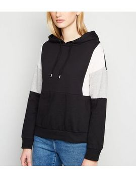 Black Colour Block Hoodie by New Look
