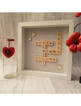 Family Scrabble Frame , Personalised Scrabble Frame Family, Frame Gift, Personalised Gift, Home Decor, Raffia Silver Theme by Etsy
