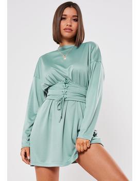 Blue Oversized Corset Belt T Shirt Dress by Missguided