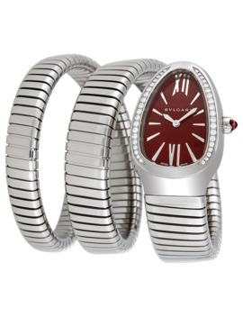 Serpenti Tubogas Red Lacquered Dial Ladies Watch by Bvlgari
