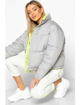 Contrast Lining Puffer Jacket by Boohoo