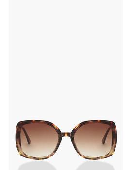 Tortoiseshell Metal Arm Oversized Sunglasses by Boohoo