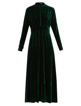 Yang Pintucked Silk Velvet Dress by Raquel Diniz