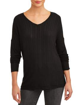 Time And Tru Women's Ribbed T Shirt With Drop Shoulder by Time And Tru