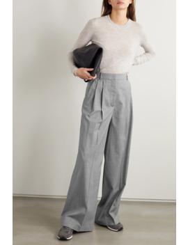 Benton Pleated Mélange Wool Blend Wide Leg Pants by Joseph