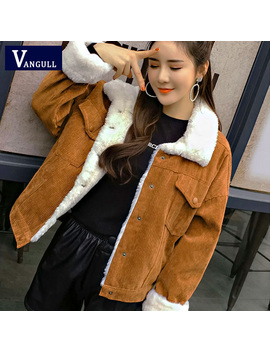Vangull Women Winter Jacket Thick Fur Lined Coats Parkas Fashion Faux Fur Lining Corduroy Bomber Jackets Cute Outwear 2019 New by Ali Express.Com