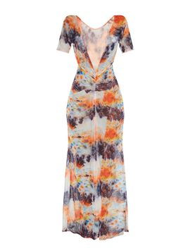 Orange Tie Dye Ruched Maxi Beach Dress by Prettylittlething