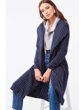 Brushed Striped Duster Jacket by Forever 21