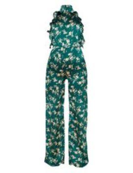 Combinaison Vert émeraude Dos Nu Volantée à Imprimé Floral by Prettylittlething