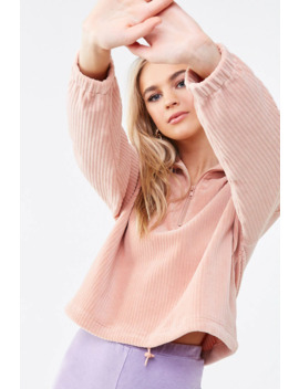 Corduroy Half Zip Pullover by Forever 21