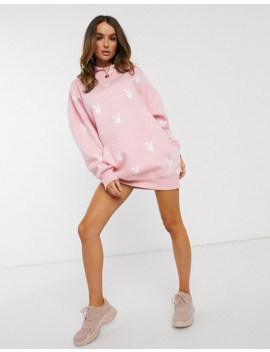 Missguided Playboy All Over Bunny Graphic Hoodie Dress In Pink by Missguided's