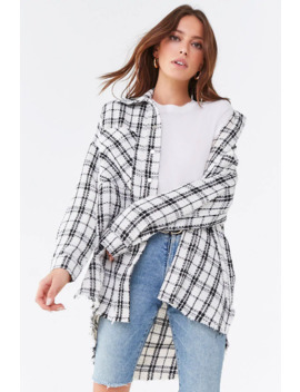 Plaid Frayed Hem Jacket by Forever 21