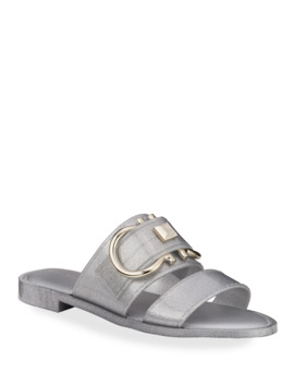 Taryn Metallic Jelly Logo Slide Sandals by Salvatore Ferragamo