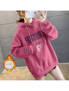 Eachin Women's Winter Warm Hooides Fashion Letter Embroidery Long Sleeve Hooded Tops Female Loose Tracksuit Sweatshirt by Ali Express.Com