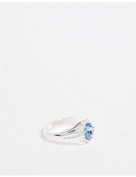 Chained & Able Band Ring With Blue Stone In Silver by Chained & Able