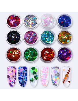 12 Boxes Holographic Heart Nail Sequins Set Holo Multi Size Iridescent Paillettes Manicure Nail Art Decorations by Ali Express.Com