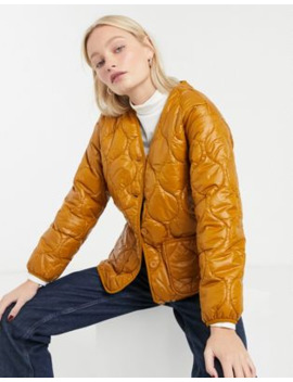 Monki Quilted Front Pocket Jacket In Brown by Monki