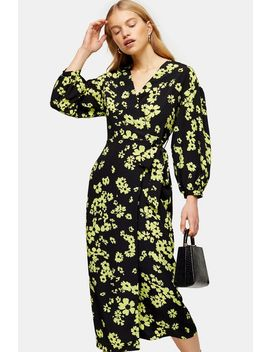 Green Daisy Print Drama Sleeve Wrap Dress by Topshop