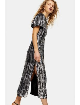 Premium Silver Puff Sleeve Sequin Midi Dress by Topshop
