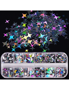 1 Case Laser Sequins For Nails Silver Glitter Triangle Star Holographic Flakes Paillette Tool Nail Art Decoration Manicure Ji645 by Ali Express.Com