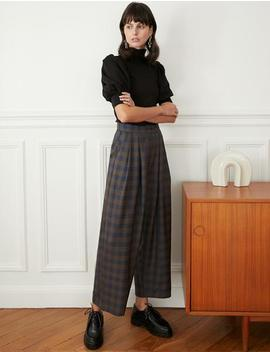 Plaid High Waist Pants by Pixie Market