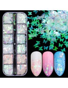 1case Mermaid Symphony Nail Art Glitter Sequins Flake Holographic Mixed Shape 3 D Butterfly Slice Sparkling Manicure Decor Jihw 2 by Ali Express.Com