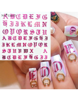 1pc Rose Gold Letter 3d Nail Art Sticker Nail Decal Black Words Character Nail Adhesive Sticker Decals Nail Decoration Diy by Ali Express.Com