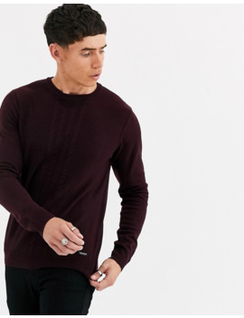 Threadbare Cable Knit Sweater In Burgundy by Asos