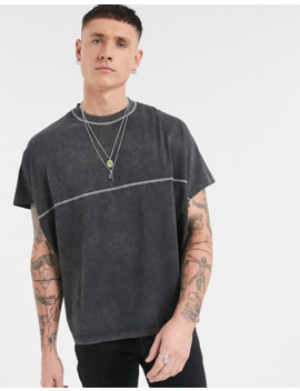 Asos Design Extreme Oversized T Shirt In Acid Wash And Contrast Stitching In Black by Asos Design