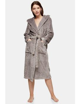 Mink Long Spot Textured Dressing Gown by Topshop