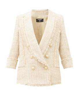 Double Breasted Cotton Blend Tweed Jacket by Balmain