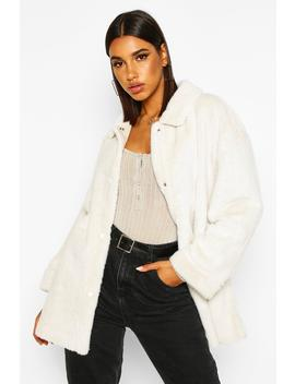 Belted Faux Suede Lined Faux Fur Coat by Boohoo