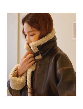 Cherryville   High Neck Faux Shearling Jacket by Cherryville