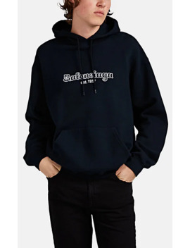 Logo Embroidered Cotton Oversized Hoodie by Balenciaga