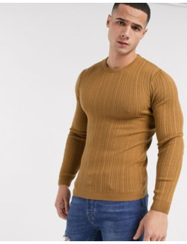 Asos Design Muscle Fit Irregular Ribbed Jumper In Tan by Asos Design