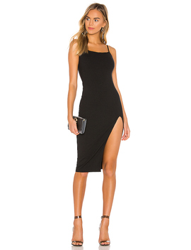 Candace Slit Midi Dress In Black by Superdown