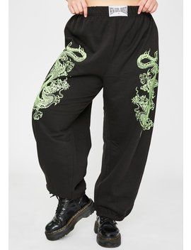Plus Dragon Graphic Joggers by New Girl Order