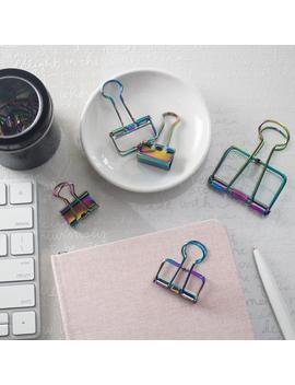Rainbow Iridescent Binder Clips by Etsy