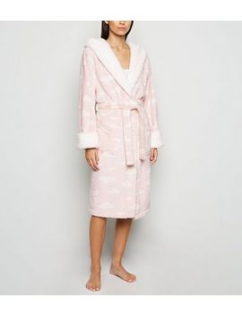 Pink Cloud Fluffy Hooded Dressing Gown by New Look