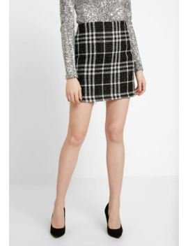 Gracie Glitter Check   Mini Skirt by New Look