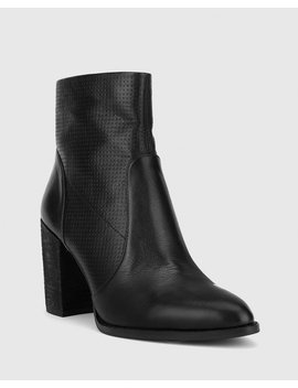 Halstead Black Scotch Leather Block Heel Ankle Boot by Wittner